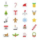Icônes plates de couleur de fête de Noël Images libres de droits
