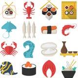 Icônes plates de couleur de fruits de mer asiatiques Photo libre de droits