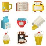 Icônes plates de couleur de nourriture savoureuse Images stock
