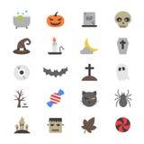 Icônes plates de couleur de partie de Halloween Photos libres de droits