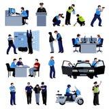 Icônes plates de couleur de personnes de policier Photos libres de droits