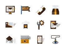 Icônes plates de couleur de soutien en ligne réglées illustration stock