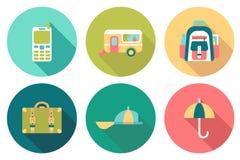 Icônes plates de couleur de voyage rond Illustration Stock