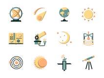 Icônes plates de couleur pour l'espace Image stock