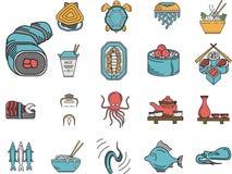 Icônes plates de couleur pour le menu de fruits de mer Images libres de droits