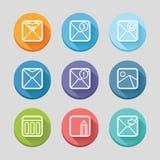 Icônes plates de courrier illustration libre de droits