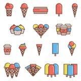Icônes plates de crème glacée  Images stock