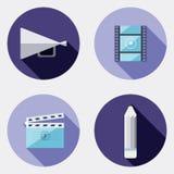 Icônes plates de créativité de conception avec la longue ombre 3 Illustration Libre de Droits