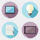 Icônes plates de créativité de conception avec la longue ombre 1 Illustration Stock