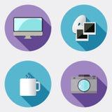 Icônes plates de créativité de conception avec la longue ombre 2 Illustration Stock