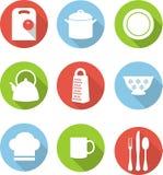 Icônes plates de cuisine Photographie stock libre de droits