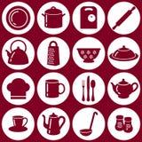 Icônes plates de cuisine Image stock