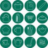 Icônes plates de cuisine Photo libre de droits