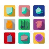 Icônes plates de cuisine et de cuisson Photos libres de droits