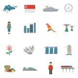 Icônes plates de culture de Singapour réglées illustration de vecteur