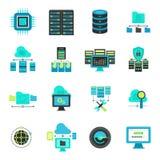 Icônes plates de Datacenter réglées Image stock