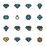 Icônes plates de diamant de vecteur réglées Photographie stock