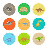 Icônes plates de dinosaures Illustration Stock