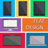Icônes plates de dispositifs de conception Photographie stock libre de droits