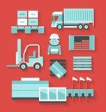 Icônes plates de distribution et de logistique Photographie stock