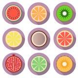Icônes plates de fruit avec l'ombre Image stock