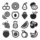 Icônes plates de fruit. Noir Image stock