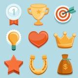 Icônes plates de gamification de vecteur. Insignes d'accomplissement Image stock