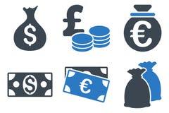 Icônes plates de Glyph d'argent d'argent liquide Image stock