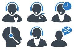 Icônes plates de Glyph d'opérateur de centre d'appels Photo stock