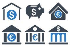 Icônes plates de Glyph de banque Image libre de droits