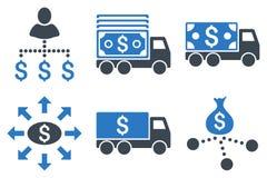 Icônes plates de Glyph de la livraison d'argent liquide Photos libres de droits