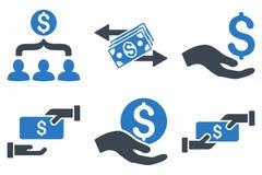 Icônes plates de Glyph de paiement Photos stock
