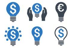 Icônes plates de Glyph des prix de lumière électrique Photos libres de droits