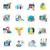 Icônes plates de grand Analytics de données Photographie stock