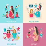 Icônes plates de grossesse illustration stock