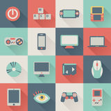 Icônes plates de jeu Image stock