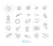 Icônes plates de l'espace Image libre de droits