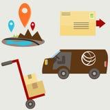 Icônes plates de la livraison Image stock