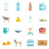 Icônes plates de laitages de lait réglées Photos stock