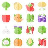 Icônes plates de légumes élégants mignons Image stock