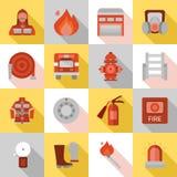 Icônes plates de longue ombre de caserne de pompiers illustration stock