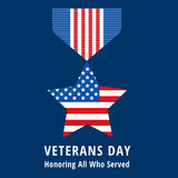 Icônes plates de médailles de jour de vétérans Photos stock