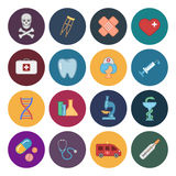 16 icônes plates de médecine Photo stock