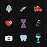 9 icônes plates de médecine Photos libres de droits