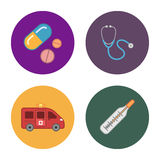 4 icônes plates de médecine Photographie stock