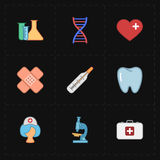 9 icônes plates de médecine Images stock