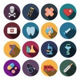 16 icônes plates de médecine Photo libre de droits
