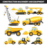 Icônes plates de machines de matériel de construction réglées illustration de vecteur