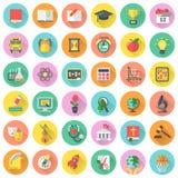 Icônes plates de matières d'enseignement avec de longues ombres Image stock