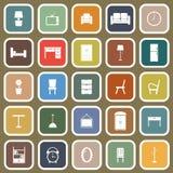 Icônes plates de meubles sur le fond brun Photo stock